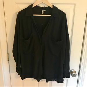 ASOS Black Button Up Blouse with Large Pockets